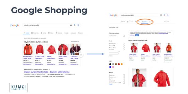 Google Shopping - esimerkki hakutuloksesta ja mainoksesta