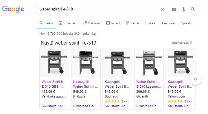 Google Shopping hakutulokset ostoputken loppupäässä